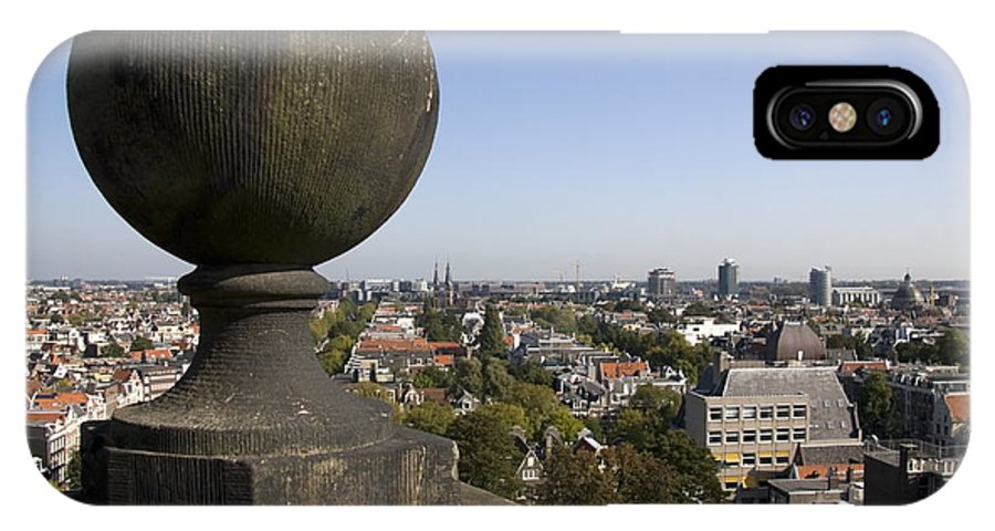 Balustrade IPhone X Case featuring the photograph Balustrade And Views From The Westerkerk In Amsterdam Netherlands by Ronald Jansen