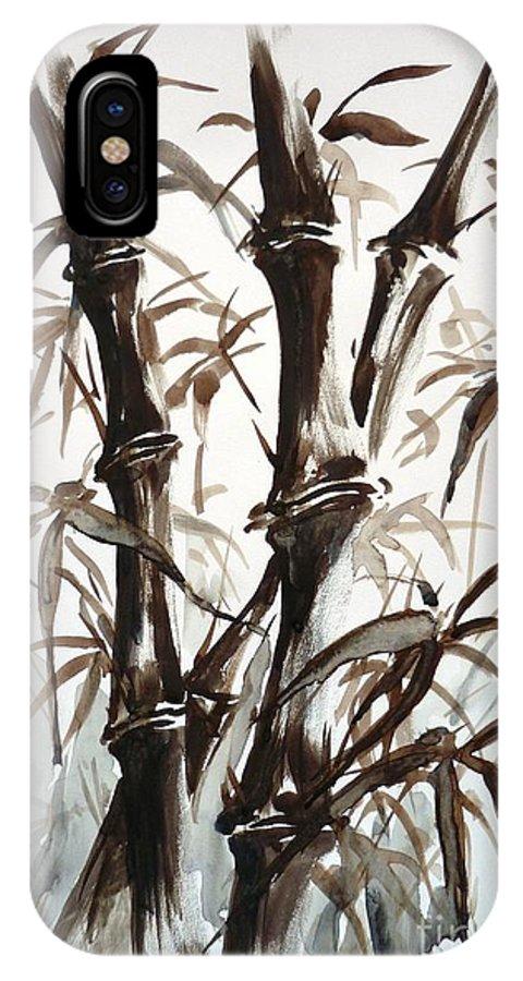 Bamboo IPhone X Case featuring the painting Bamboo by Zaira Dzhaubaeva