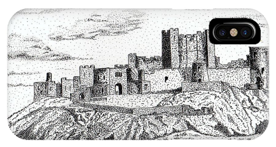 Pen And Ink IPhone X Case featuring the painting Bamburgh Castle by Brian Thompson