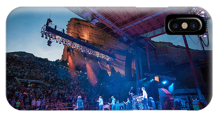 Red Rocks IPhone X Case featuring the photograph Band On Stage by Rick Machle