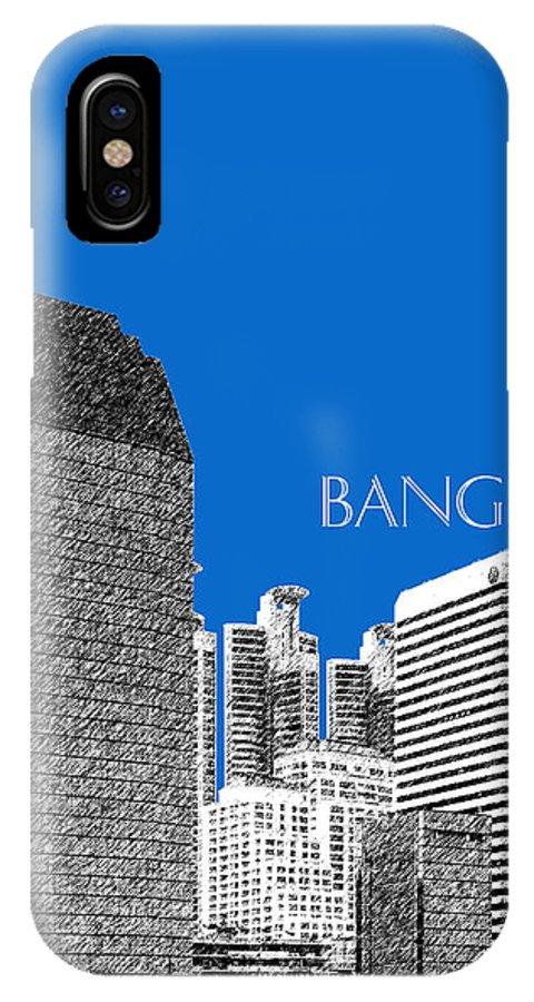 Architecture IPhone X Case featuring the digital art Bangkok Thailand Skyline 2 - Blue by DB Artist