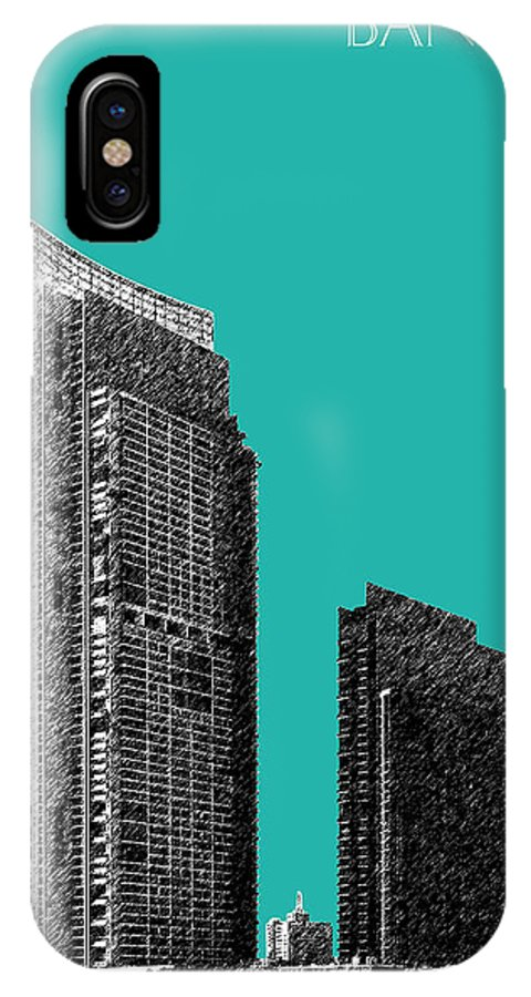 Architecture IPhone X / XS Case featuring the digital art Bangkok Thailand Skyline 3 - Teal by DB Artist