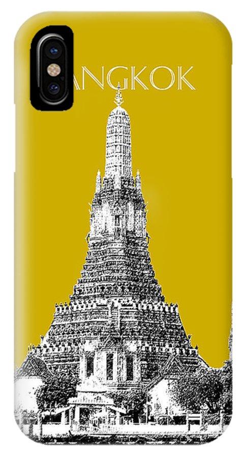 Architecture IPhone X Case featuring the digital art Bangkok Thailand Skyline Wat Arun - Gold by DB Artist
