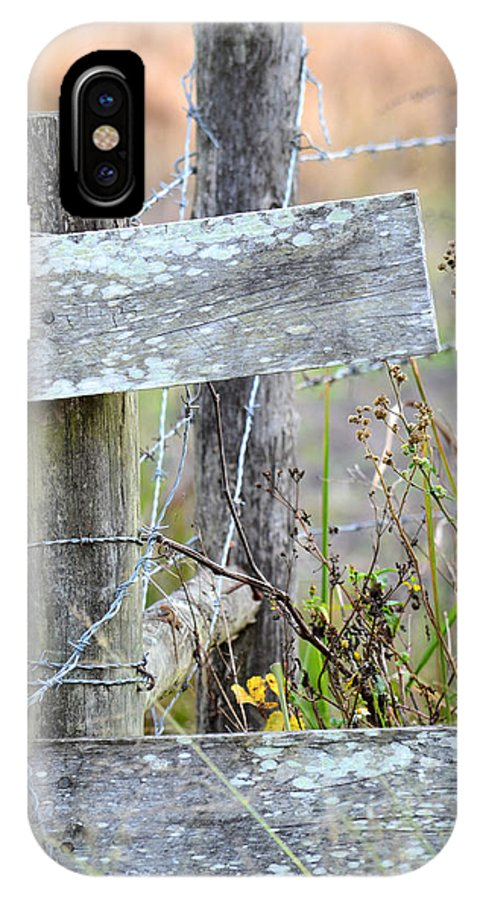 Wooden Fence IPhone X Case featuring the photograph Barbed Fence by GK Hebert Photography