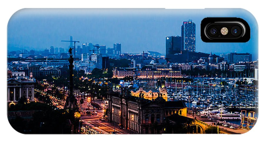 Architecture IPhone X Case featuring the photograph Barcelona At Night by Sotiris Filippou