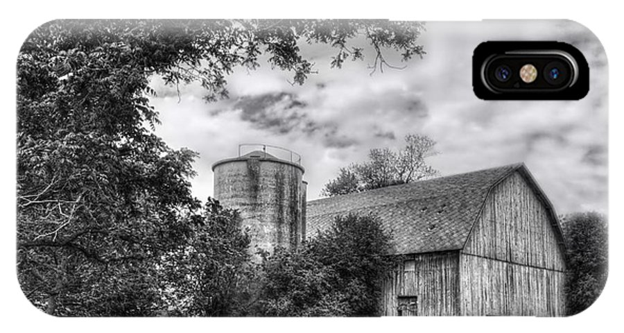 Barn IPhone X Case featuring the photograph Barn In Black And White by Margie Hurwich