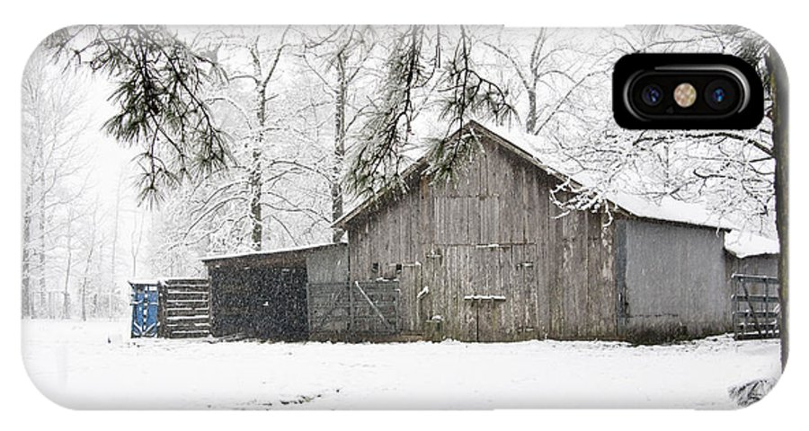 Landscape IPhone X Case featuring the photograph Barn In Snow by Robert Camp