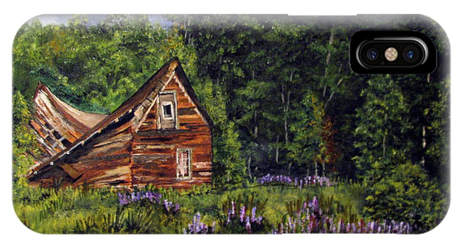 Barn IPhone X Case featuring the painting Barn With Purple Flowers by Nancie Johnson