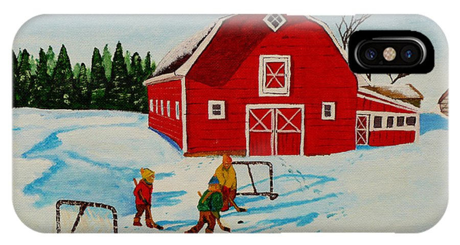 Hockey IPhone X / XS Case featuring the painting Barn Yard Hockey by Anthony Dunphy