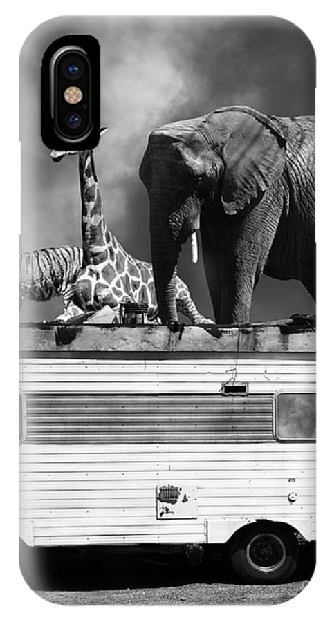Transportation IPhone X Case featuring the photograph Barnum And Bailey Goes On A Road Trip 5d22705 Vertical Black And White by Wingsdomain Art and Photography