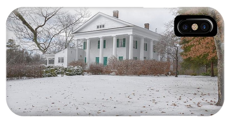 Antebellum IPhone X Case featuring the photograph Barrington Hall In The Snow by Steve Grundy