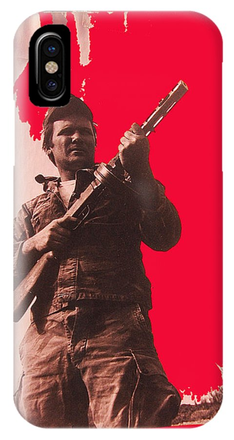 Barry Sadler Machine Gun Authentic Ww2 Africa Korps Hat Viet Nam War Camouflage Clothes Collage Tucson 1971 Color Added IPhone X Case featuring the photograph Barry Sadler Machine Gun Authentic Ww2 Africa Korps Hat Camouflage Clothes Collage Tucson 1971-2012 by David Lee Guss