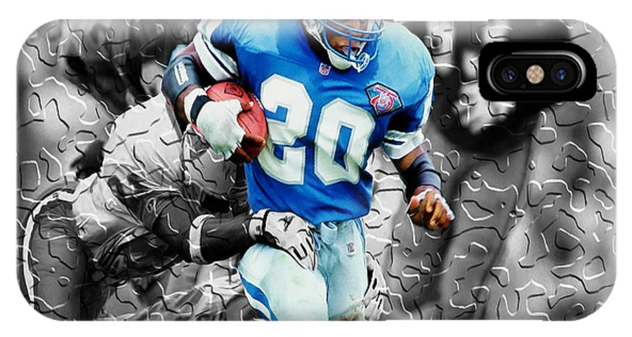 Barry Sanders IPhone X / XS Case featuring the digital art Barry Sanders Breaking Out by Brian Reaves