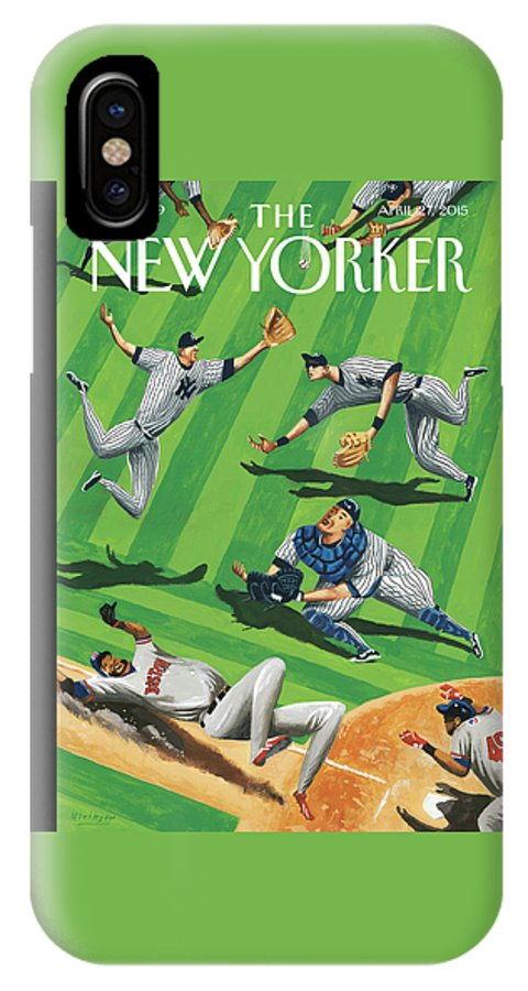 Yankees IPhone X Case featuring the painting Baseball Ballet by Mark Ulriksen