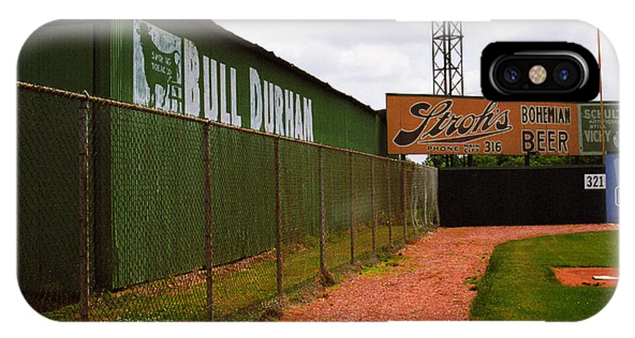 Ad IPhone X Case featuring the photograph Baseball Field Bull Durham Sign by Frank Romeo