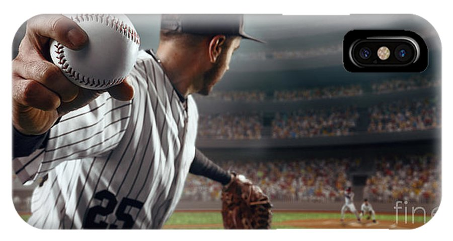 Baseball Ball IPhone X Case featuring the photograph Baseball Player Throws The Ball On by Alex Kravtsov