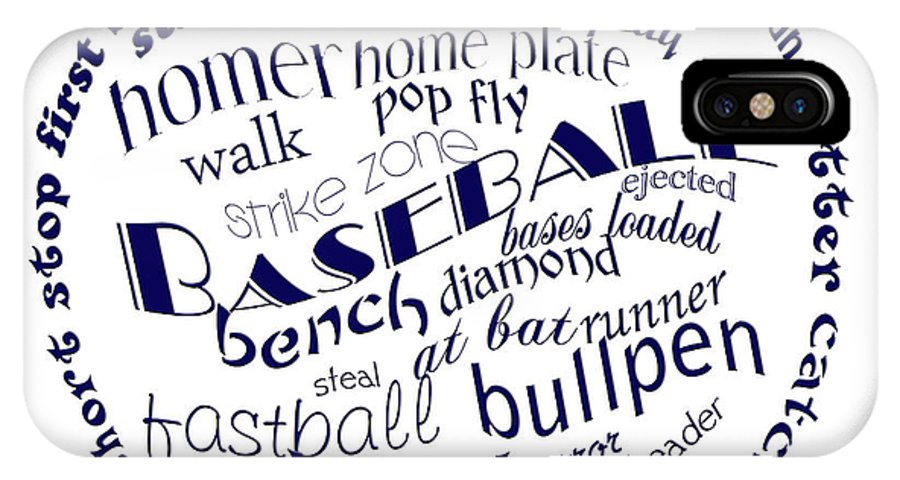 Baseball IPhone X Case featuring the digital art Baseball Terms Typography Blue On White by Andee Design