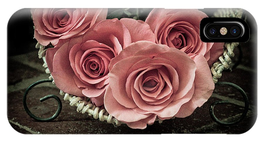 Pink Roses IPhone X Case featuring the photograph Basket Of Roses by Holly Groves