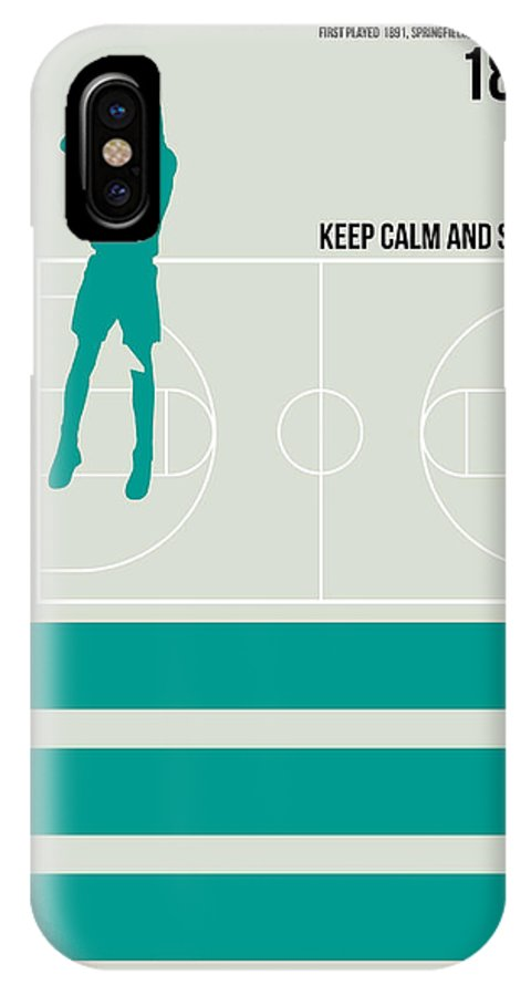 Motivational IPhone X Case featuring the digital art Basketball Poster by Naxart Studio