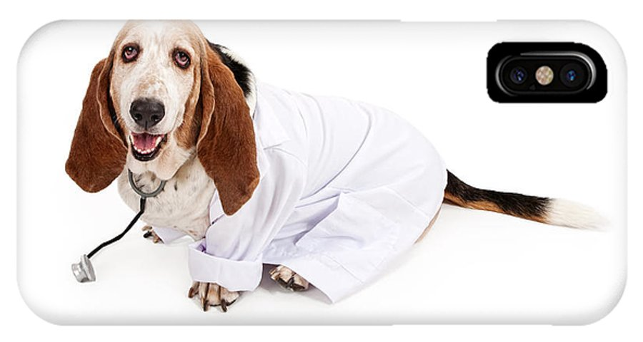 Dog IPhone X Case featuring the photograph Basset Hound Dressed As A Veterinarian by Susan Schmitz