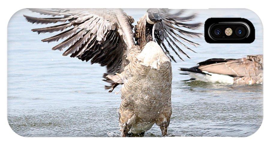 Goose IPhone X Case featuring the photograph Bath-time Fun by Lori Tordsen