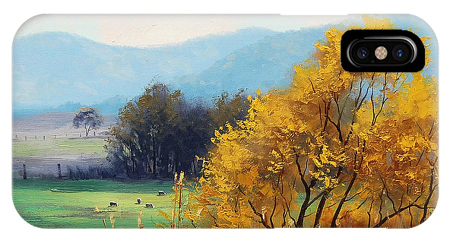 Rural IPhone X Case featuring the painting Bathurst Landscape by Graham Gercken