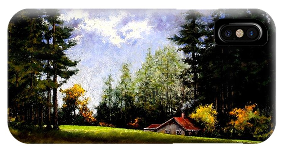 Landscape IPhone X Case featuring the painting Battle Ground Park by Jim Gola