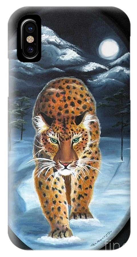 Snow Leopard IPhone X / XS Case featuring the painting Batukhan Snow Leopard by Lora Duguay