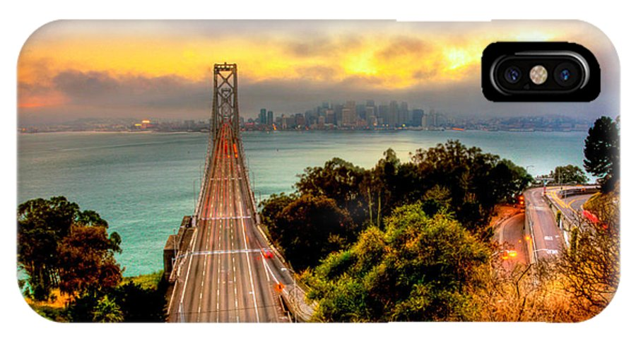 America IPhone X Case featuring the photograph Bay Bridge by Kyle Simpson