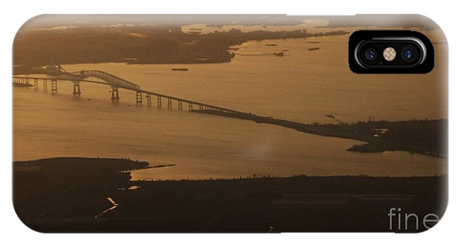 Aerial Photograph Chesapeake Bay Photography Surreal Photography Bay Bridge Photography Bay Bridge Maryland Sepia Tone Chesapeake Bay Serenity Bronze Water Inlets Iconic Bridge Shadows Canvas Print Greeting Card Metal Frame Iphone Case Art IPhone X Case featuring the photograph Bay Bridge Maryland by Marcus Dagan