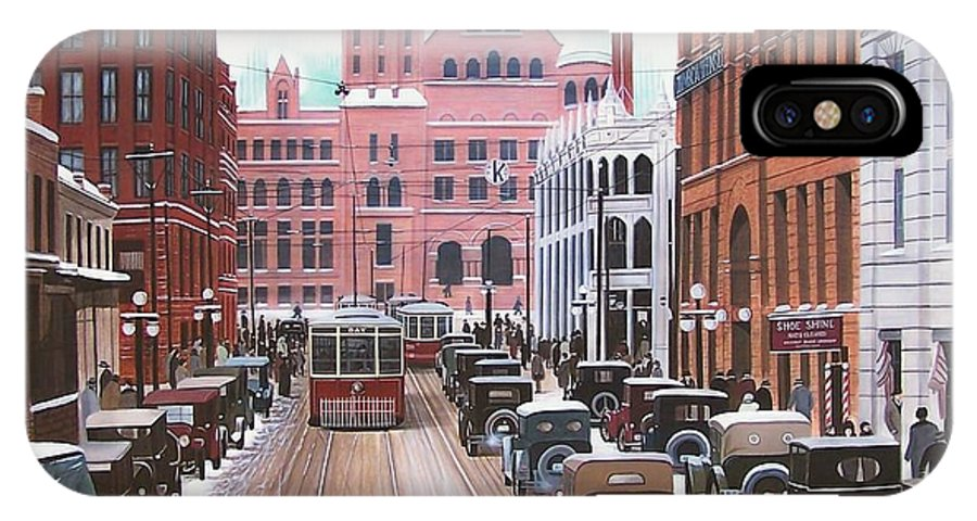 Streetscapes IPhone X Case featuring the painting Bay Street Christmas Eve 1924 by Kenneth M Kirsch