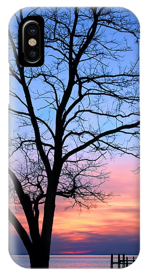 Sunset IPhone X Case featuring the photograph Bay Sunset by Carolyn Derstine
