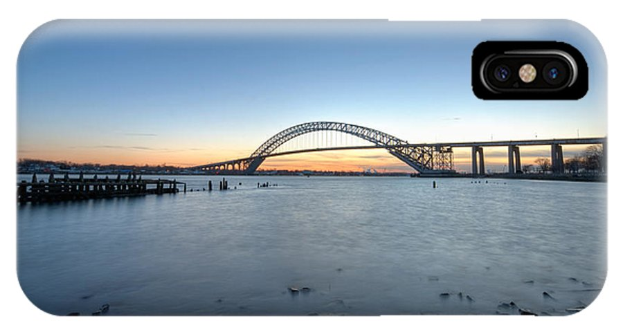 Sunset IPhone X Case featuring the photograph Bayonne Bridge Longe Exposure Sunset by Michael Ver Sprill