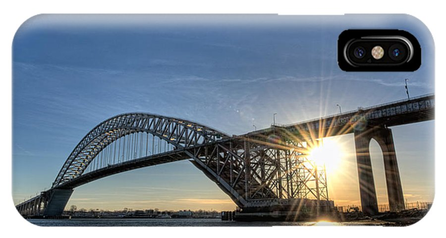 Sunset IPhone X Case featuring the photograph Bayonne Bridge Sunburst by Michael Ver Sprill