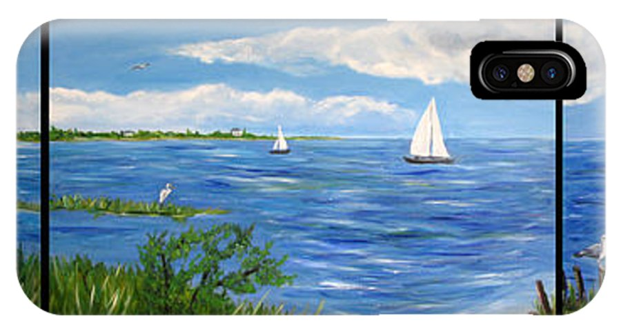 Barnegat Bay IPhone X Case featuring the painting Bayville Trio by Clara Sue Beym