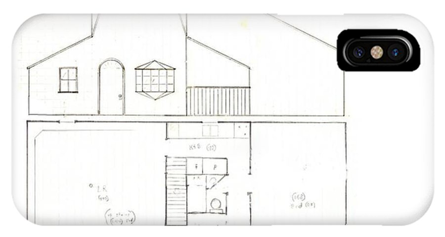 Floor Plan IPhone X Case featuring the drawing Baywindow Bungalow by Jessi and James Gault