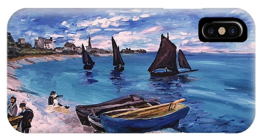 Monet IPhone X Case featuring the painting Beach At Sainte Adresse Monet by Eric Schiabor