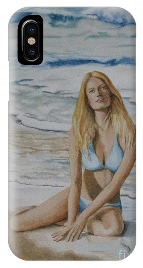 Seascape IPhone X Case featuring the painting Beach Beauty by Parrish Hirasaki