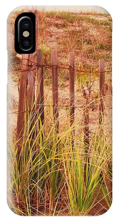 Beach IPhone X Case featuring the photograph Beach Dune Fence At Cape May Nj by Eric Schiabor