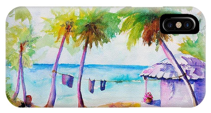 Beach Hut IPhone X Case featuring the painting Beach House Tropical Paradise by Carlin Blahnik CarlinArtWatercolor