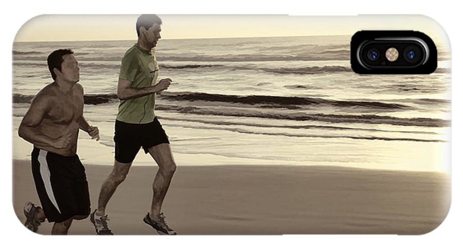 Two Men Jogging Beach Ocean Waves IPhone X Case featuring the photograph Beach Joggers by Alice Gipson