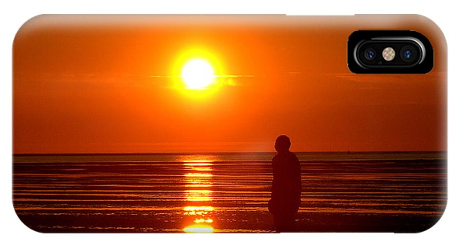 Sculpture IPhone X Case featuring the photograph Beach Sculpture At Crosby Liverpool Uk by Steve Kearns