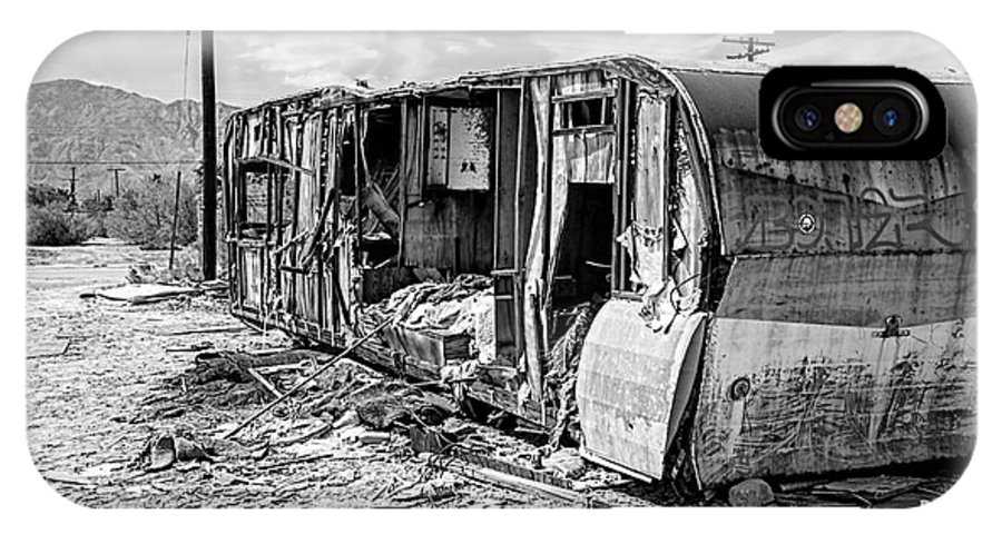 Salton Sea IPhone X Case featuring the photograph Beach Trailer Bw by Keith Ducker