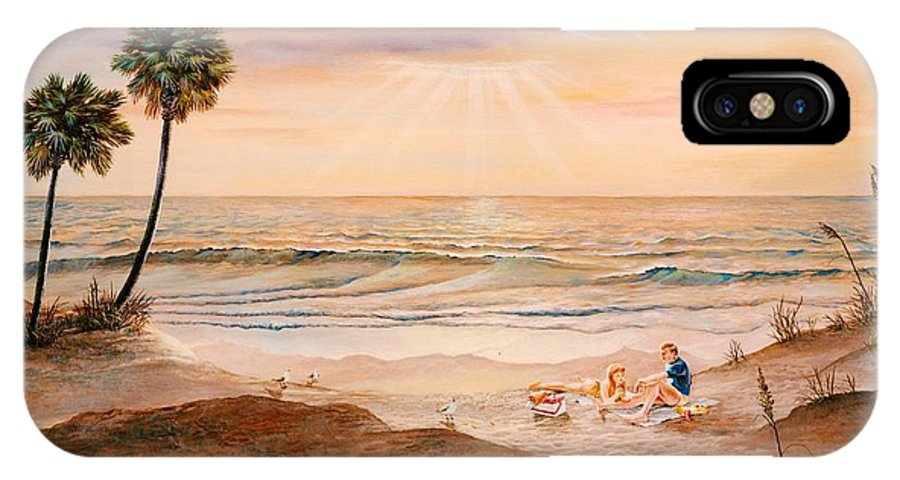 Beach IPhone X Case featuring the painting Beachcombers by Duane R Probus