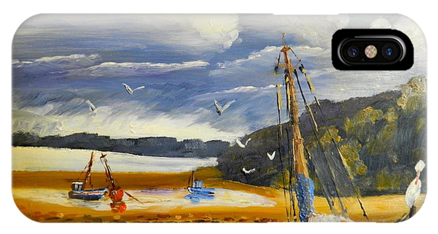 Impressionism IPhone X Case featuring the painting Beached Boat And Fishing Boat At Gippsland Lake by Pamela Meredith