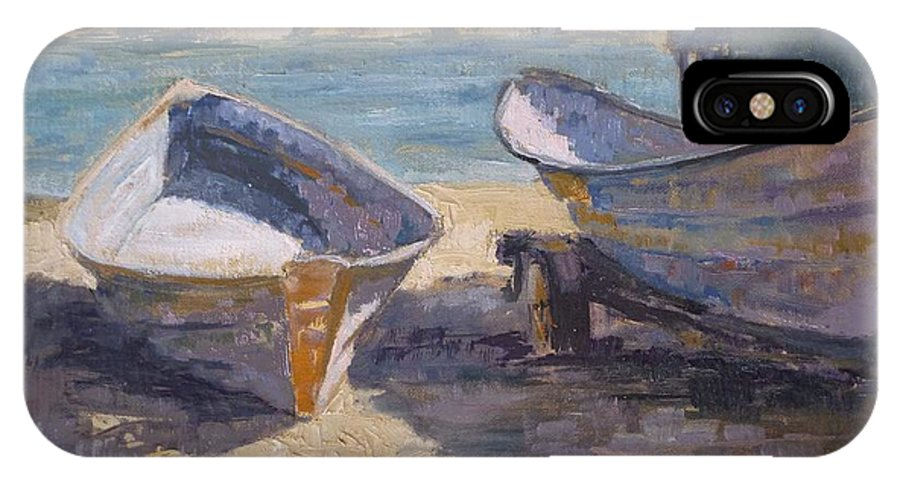 Beach IPhone X Case featuring the painting Beached In Long Beach by Sharon Weaver