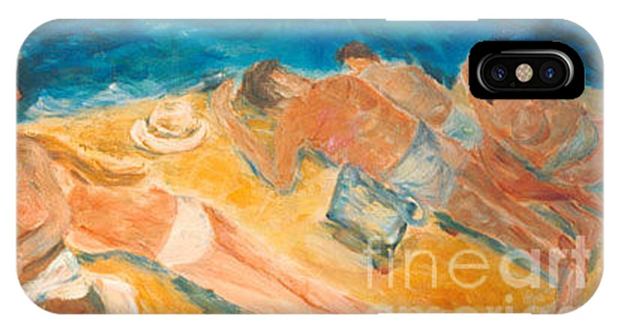 Seaside IPhone X Case featuring the painting Beachscape  by Fereshteh Stoecklein