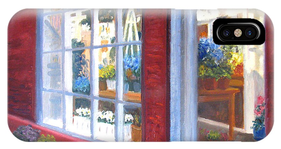 Boston IPhone X / XS Case featuring the painting Beacon Hill Flower Shop by Claire Norris