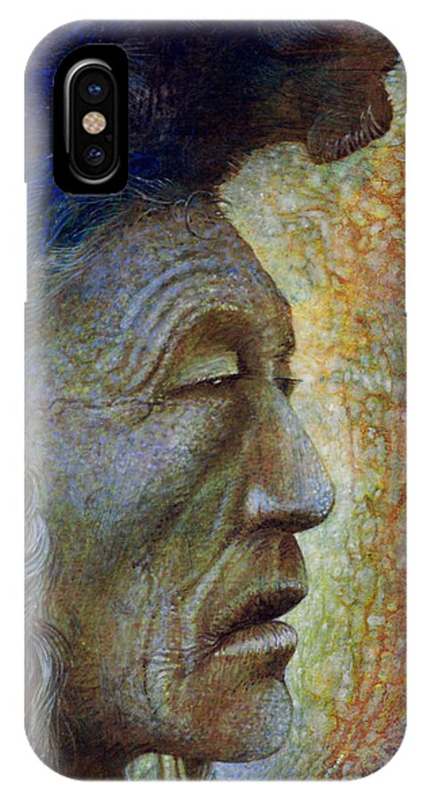 Bear Bull IPhone X Case featuring the painting Bear Bull Shaman by Otto Rapp