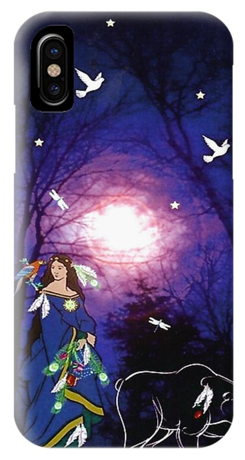 Bear IPhone X Case featuring the digital art Bear Spirit by Mary Anne Ritchie